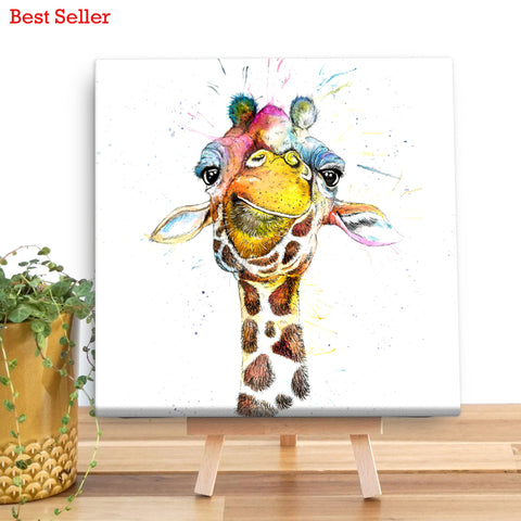 Splatter Rainbow Giraffe KW37V Canvas Mini by Katherine Williams