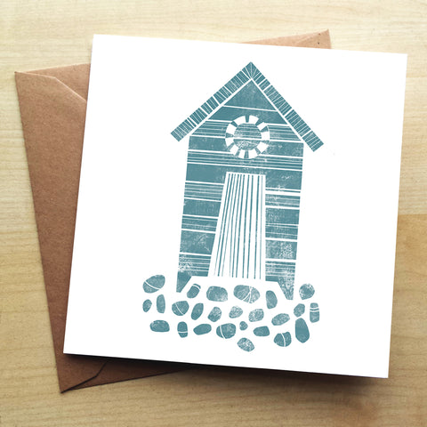 Beach Hut BS11G Greetings Card by Bells Scambler