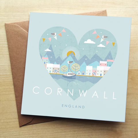 Cornwall HY03G Greetings Card by Hilary Yafai