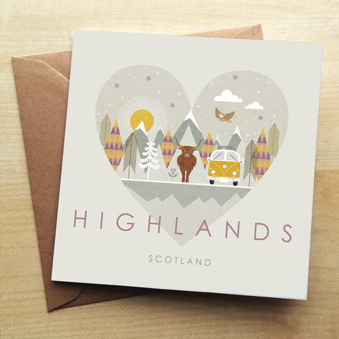 Highlands HY05G Greetings Card by Hilary Yafai