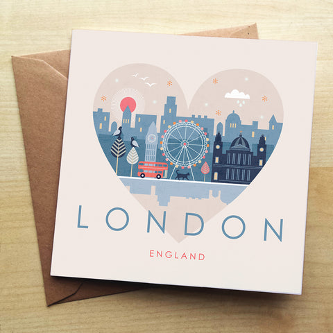 London HY07G Greetings Card by Hilary Yafai