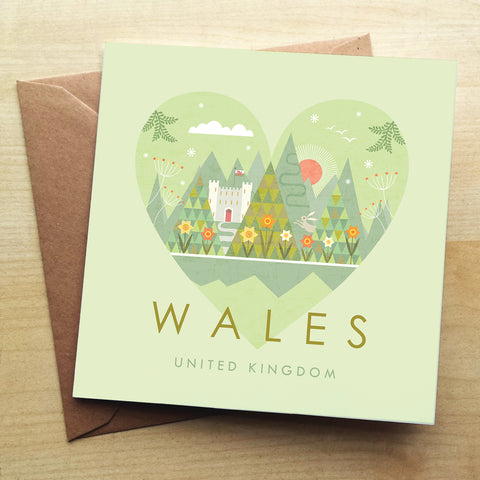 Wales HY10G Greetings Card by Hilary Yafai
