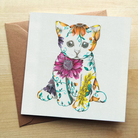 Rustic Kitten KB48G Greetings Card by Kat Baxter