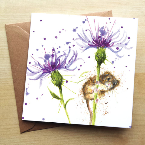 Splatter Cornflower Mouse KW68G Greetings Card by Katherine Williams