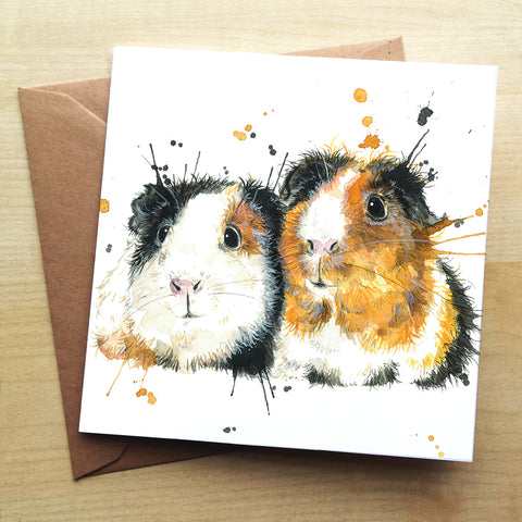 Splatter Guinea Pigs KW69G Greetings Card by Katherine Williams