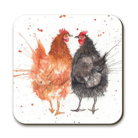 Splatter Hens KW54C Coaster by Katherine Williams