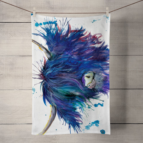 Splatter Highland Cow KW28T Tea Towel by Katherine Williams