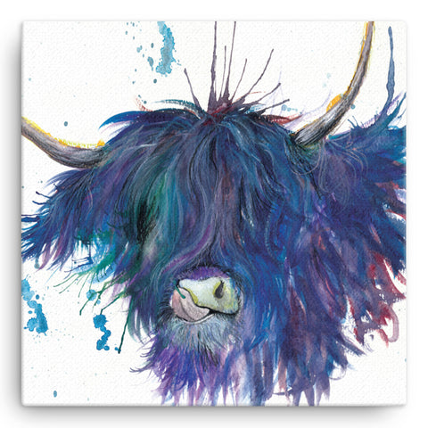 Splatter Highland Cow KW28W Large Canvas by Katherine Williams