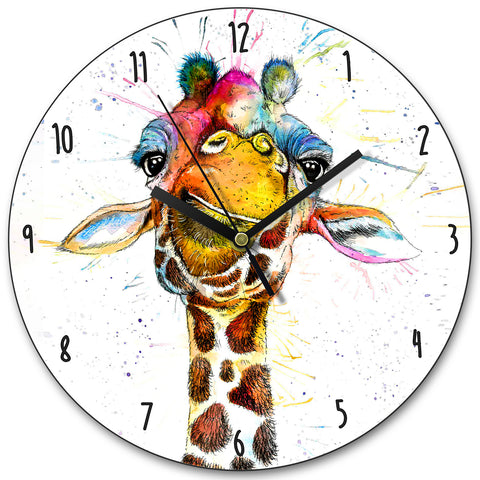 Splatter Rainbow Giraffe KW37L Clock by Katherine Williams