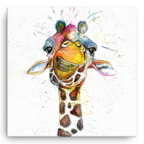 Splatter Rainbow Giraffe KW37W Large Canvas by Katherine Williams
