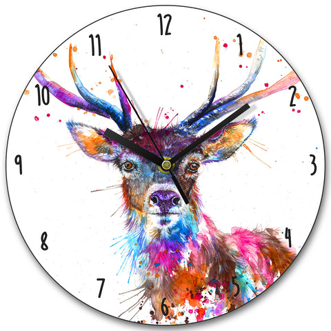 Splatter Rainbow Stag KW58L Clock by Katherine Williams