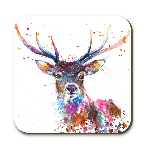 Splatter Rainbow Stag KW58C Coaster by Katherine Williams