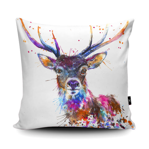 Splatter Rainbow Stag KW58U Cushion by Katherine Williams