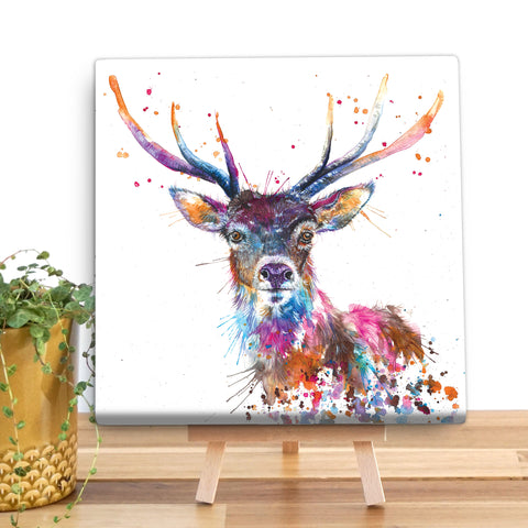 Splatter Rainbow Stag KW58V Canvas Mini by Katherine Williams