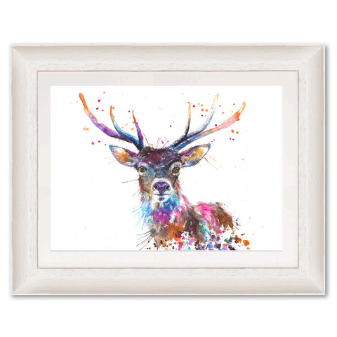 Splatter Rainbow Stag KW58 Original Print by Katherine Williams