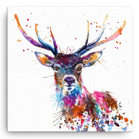 Splatter Rainbow Stag KW58W Large Canvas by Katherine Williams