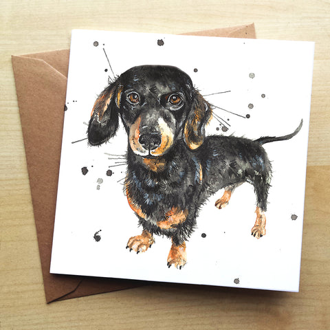 Splatter Sausage KW72G Greetings Card by Katherine Williams