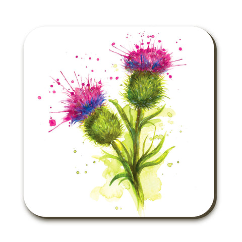 Splatter Thistle KW63C Coaster by Katherine Williams