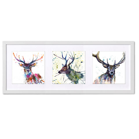 Stag Family TR25 Triptych by Katherine Williams
