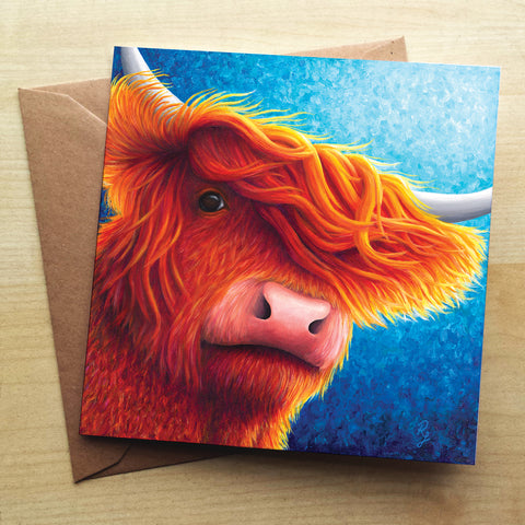 Highland Cow 2 RR05G Greetings Card by Rachel Froud
