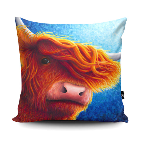 Highland Cow 2 RR05 Cushion by Rachell Froud