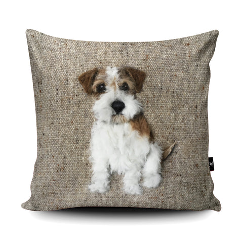 Rough Haired Jack Russell SA23U Cushion by Sharon Salt