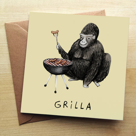 Grilla SC42G Greetings Card by Sophie Corrigan