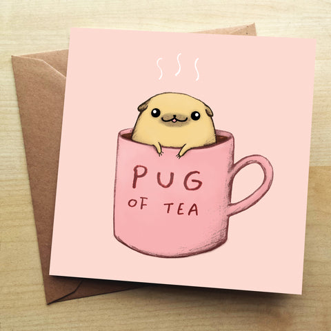 Pug of Tea SC20G Greetings Card by Sophie Corrigan