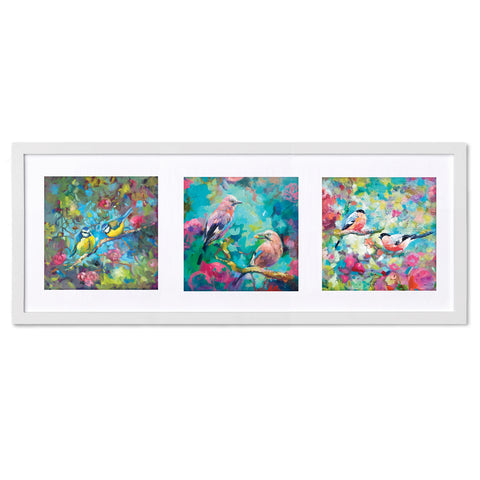 All the Birdies TR34 Triptych by Sue Gardner