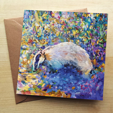 Badger SG18G Greetings Card by Sue Gardner