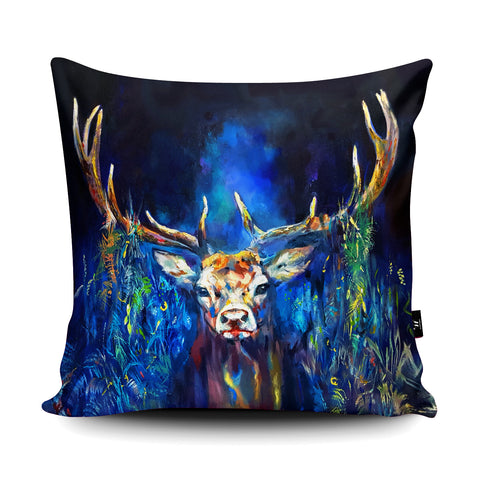Blue Grazing Stag SG19U Cushion by Sue Gardner