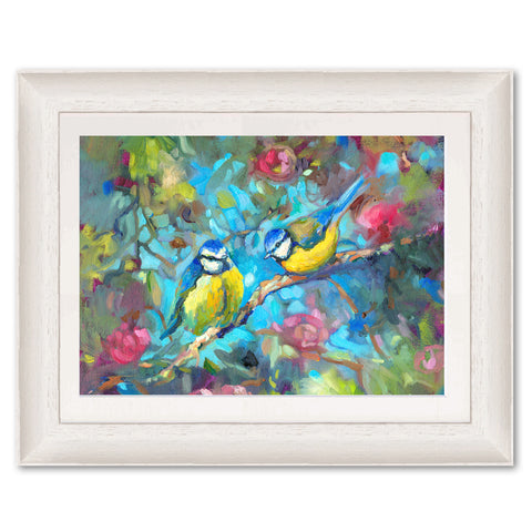 Bluebirds and Blossom SG13 Original Print by Sue Gardner