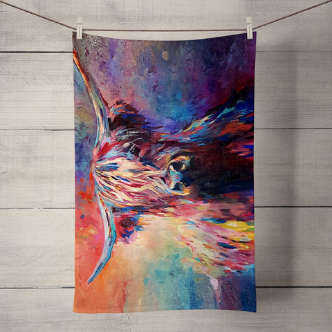 Highland Cow SG03T Tea Towel by Sue Gardner