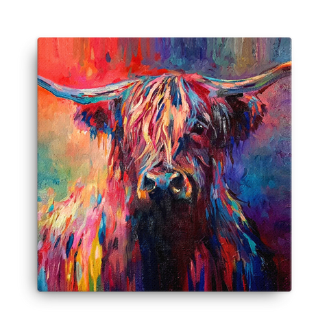 Highland Cow SG03V Canvas Mini by Sue Gardner