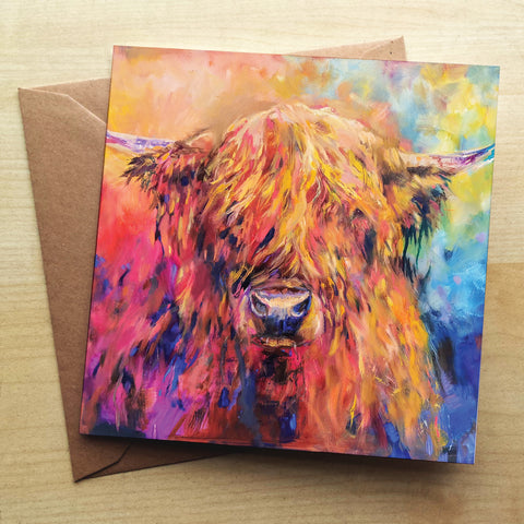 Rainbow Cow SG28G Greetings Card by Sue Gardner