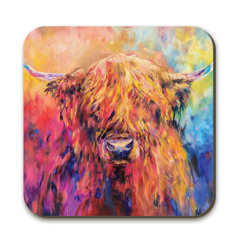 Rainbow Cow SG28C Coaster by Sue Gardner
