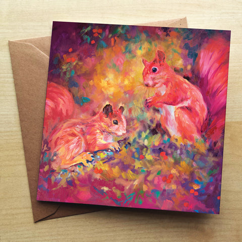 Red Squirrels SG29G Greetings Card by Sue Gardner