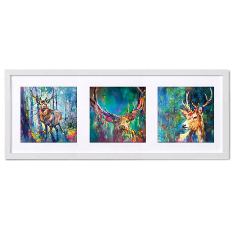 Wild Stags TR23 Triptych by Sue Gardner