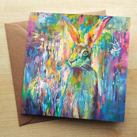 Woodland Hare SG05G Greetings Card by Sue Gardner