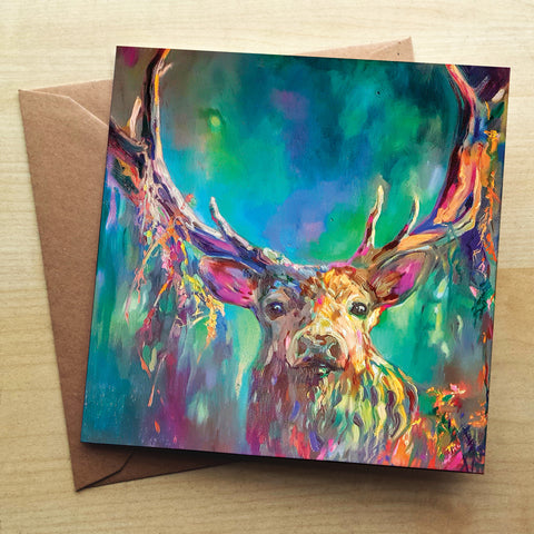 Woodland Stag SG06G Greetings Card by Sue Gardner