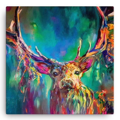Woodland Stag SG06W Large Canvas by Sue Gardner