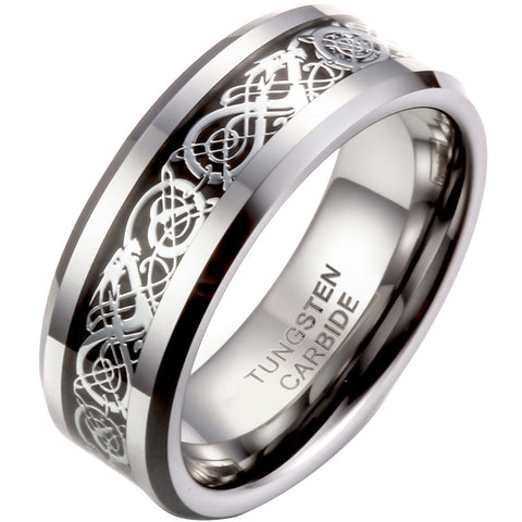 Boniskiss 8mm Celtic Dragon Inlay Tungsten Carbide Ring Men's Anniversary/Engagement/Wedding Band