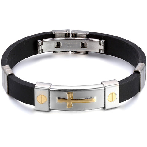 Boniskiss	New Fashion Men Women Stainless Steel Rubber Bracelet with Golden Tone Cross 7.5 Length