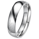 Boniskiss Lover's Heart Shape Stainless Steel Ladies Promise Ring Real Love Engagement Wedding Bands