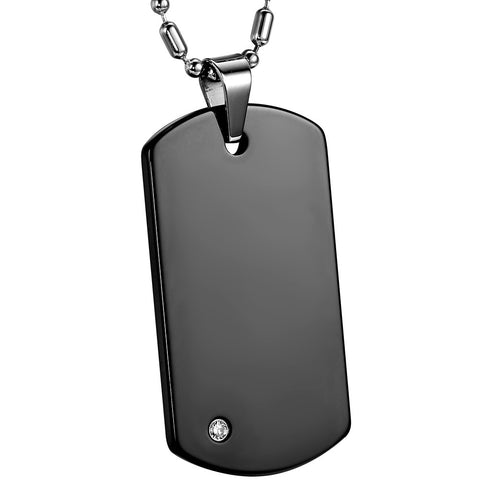 Boniskiss 	High Polished Engravable Tungsten Carbide Mens Dog Tag Pendant Necklace Black, 22 Chain