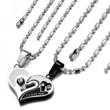 "Boniskiss Valentine Love Gifts 2pcs His and Hers Heart Stainless Steel Pendant ""I Love You"" Promise Necklace Set (One Pair)"