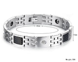 Boniskiss Stainless Steel Carbon Fiber Bracelet Link Wrist Silver Black Rectangular Square Polished Men's, 8.5 Inch