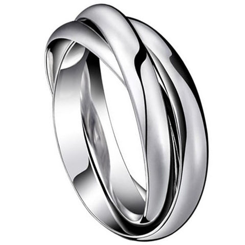Boniskiss #5 Fashion Silver Tone Stainless Steel Triple Interlocked Ring Mens Ladies Wedding Band