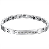 Boniskiss Fashion Stainless Steel Cubic Zirconia Couple Bracelets Black Magnetic Stones Bangle for Men Ladies