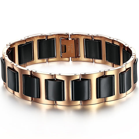 Boniskiss Rose Gold Tone Stainless Steel Combine with Black Ceramic Bracelet Bangel for Men